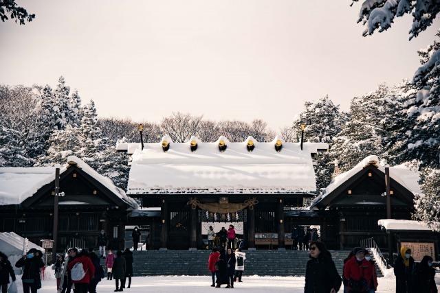 北海道神宮の冬の風景