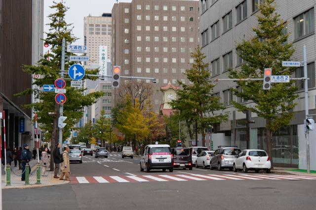 札幌市時計台付近の道路