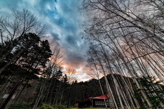 定山渓自然の村キャンプ場の朝焼け
