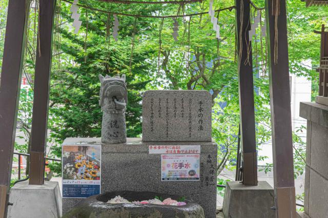 手稲神社の花手水の風景
