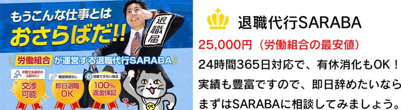 ランキング1位「退職代行SARABA」の解説